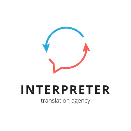 Vector creative translation agency logo. Brand sign