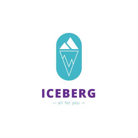 minimalistic: Vector minimalistic blue iceberg. Brand sign