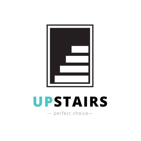 negative space: Vector minimalistic negative space stairs. Brand sign