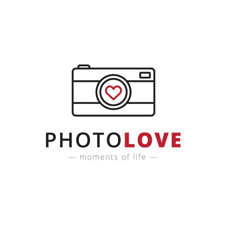 trendy: Vector trendy line style camera. Brand sign