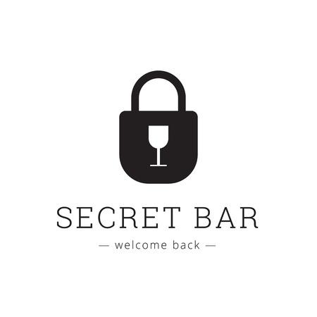 secret place: Vector secret bar icon with little glass as a keyhole