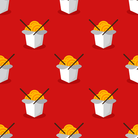 Vector bright asian wok box chineese seamless pattern