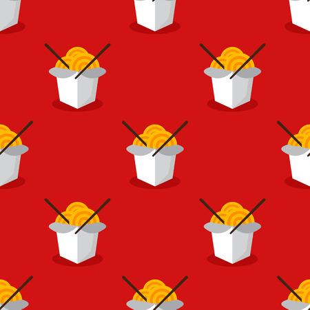 chineese: Vector bright asian wok box chineese seamless pattern