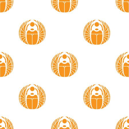 scarab: Simple orange scarab seamless pattern. Egyptian background Illustration