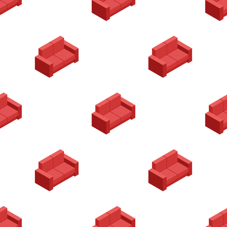 red sofa: Vector isometric red sofa seamless pattern. Furniture background