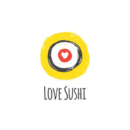 main Trendy dessiné sushi style doodle. Vecteurs