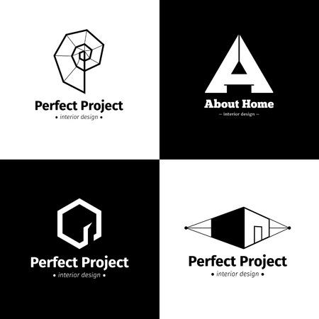 logo batiment: Vector set de quatre intérieurs logos de studio de design minimaliste. logotypes créatives en noir et blanc Illustration