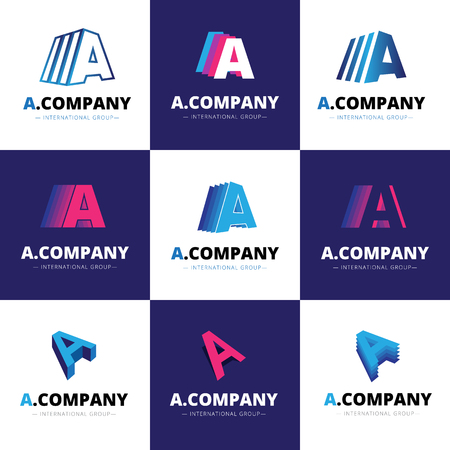 Vector set of nine creative A letter logos. Brand signs  イラスト・ベクター素材