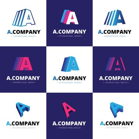 Vector set of nine creative A letter logos. Brand signs 向量圖像