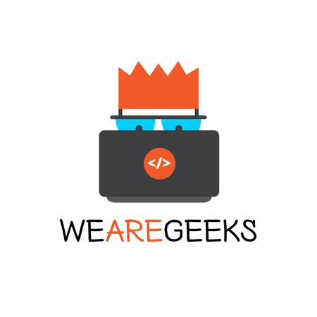 coder: Vector creative geek logotype. Modern flat computer nerd brand sign.