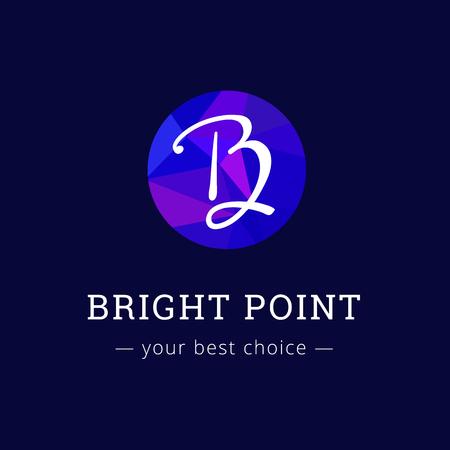 studio b: Vector polygonal style elegant B letter logo. Brand sign