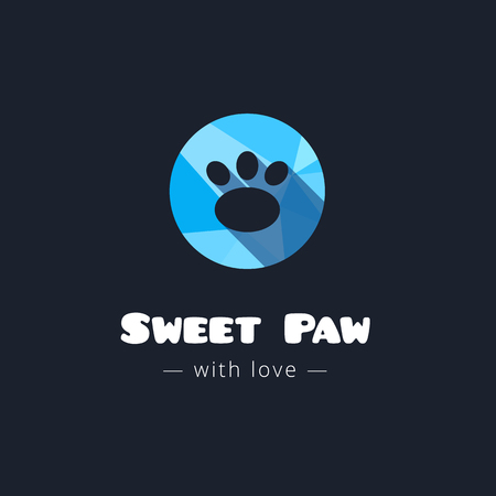 pet shop: Vector cute paw blue polygonal logo. Pet shop sign