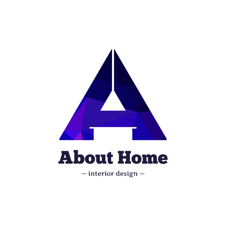 Vector trendy polygonal minimalistic negative space interior design logo. A letter home goods brand sign.