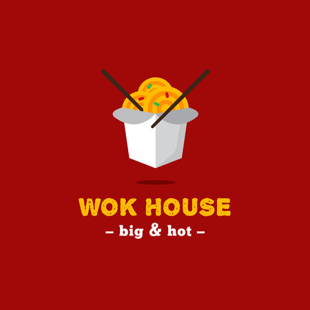 chinese food container: Vector bright asian wok box Chinese restaurant . Brand sign