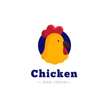 cartoon rooster: Vector cute chicken head . Brand sign Illustration