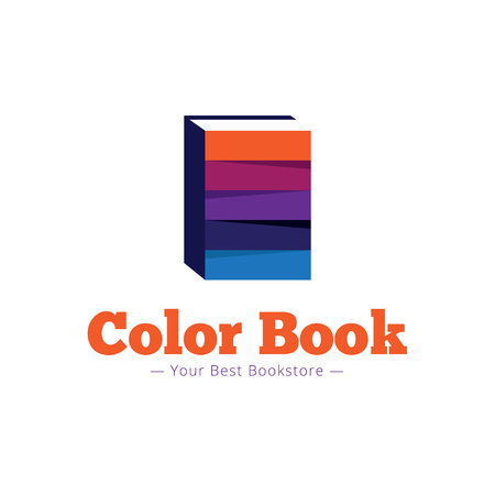 publisher: Vector trendy paper style bookstore logo. Multicolor flat book logotype
