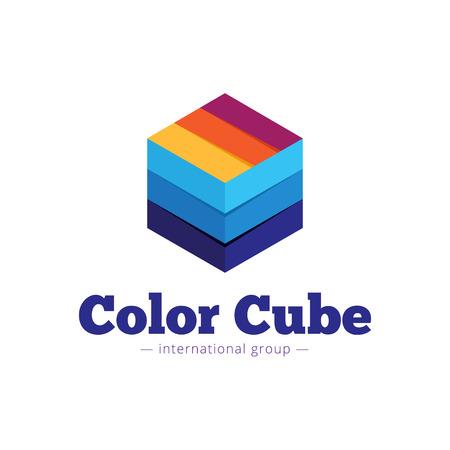 Logo de cubes multicolore style vecteur papier à la mode. Symbole abstrait de cubes rayés plat