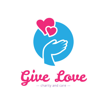 mercy: Vector trendy charity center logo. Hospital logotype with hands and heart