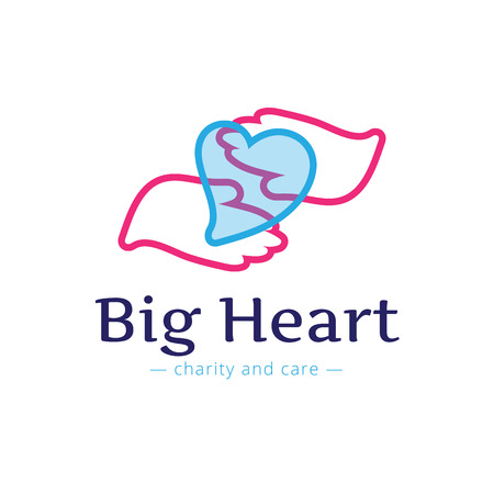 voluntary: Vector trendy charity center logo. Hospital logotype with hands and heart