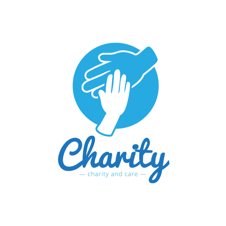 Vector trendy charity center logo. Hospital logotype with hands