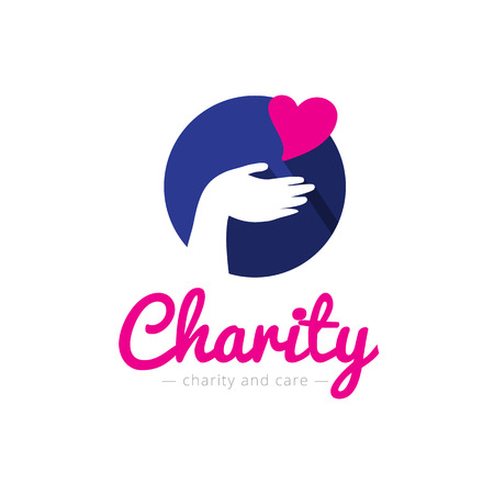 cherish: Vector trendy charity center logo. Hospital logotype with hands and heart