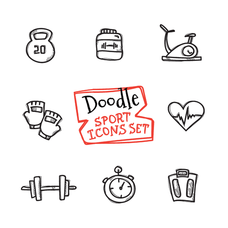 weightlifting gloves: Vector doodle style line icons sport set. Cute hand drawn collection of sport objects