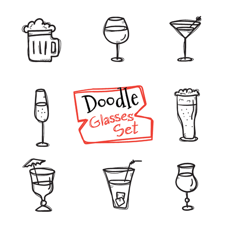 champagne glasses: Vector doodle style glasses icons set. Cute hand drawn collection of drinks Illustration