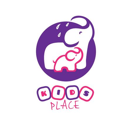 Vector cute cartoon elephant logo. Mother and baby elephants logotype  イラスト・ベクター素材
