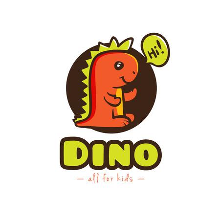 funny baby: Vector funny cartoon dino logo. Baby dinosaur mascot logotype Illustration