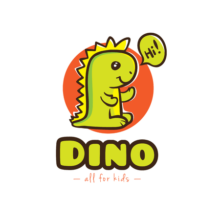 Vector funny cartoon dino logo. Baby dinosaur mascot logotype Illustration