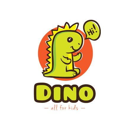 Vector logo divertido de Dino de la historieta. Bebé dinosaurio mascota del logotipo