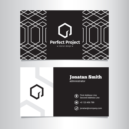 negative space: Vector modern geometric black and white business card template with negative space logo