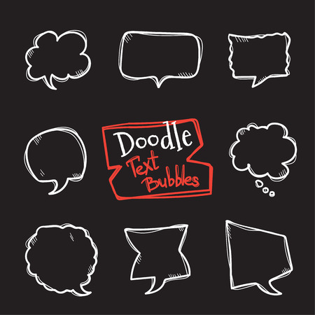 simple frame: Vector doodle style text bubbles set. Cute hand drawn collection of chating clouds