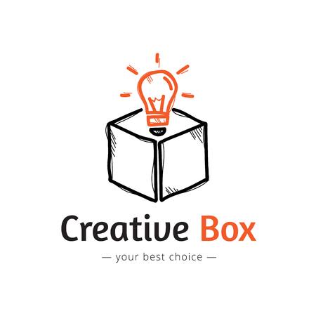 Vector trendy minimalistic light bulb in a box