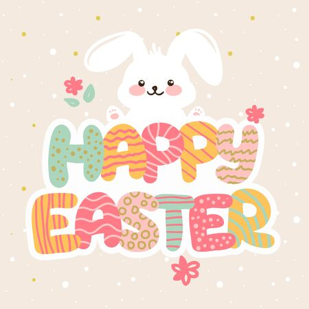 ester: Vector Happy Easter greeting card design with cartoon letters and bunny