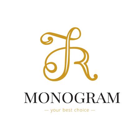 hand lettered: Vector elegant hand lettered R letter monogram