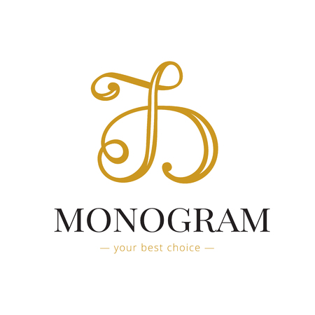 hand lettered: Vector elegant hand lettered D letter monogram Illustration
