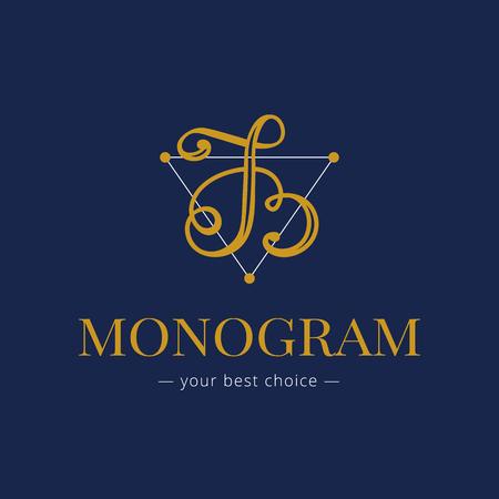 hand lettered: Vector elegant hand lettered B letter monogram