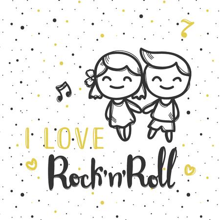 rockabilly: Vector hand lettered inscription. I love rock n roll musical poster