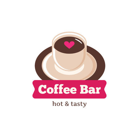 coffeehouse: Vector cute coffee bar logo. Coffee shop logo. Coffee cup logotype for cafe or coffee shop Illustration