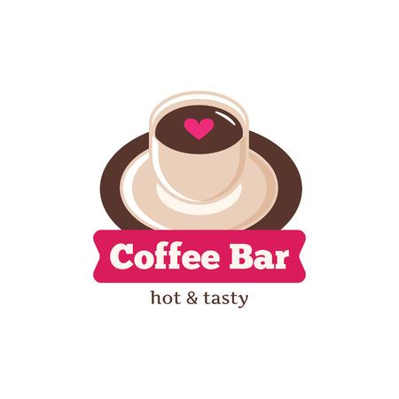 Vector koffiebar schattig logo. Coffeeshop logo. Koffiekop logo voor cafe of koffieshop Stock Illustratie