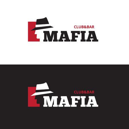 gangster: Vector minimalistic negative space man in hat logo. Mafia bar logo