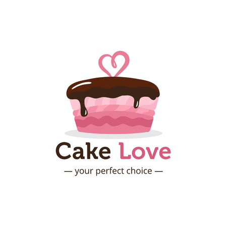 Vector cute shiny pink cake logo with chocolate and heart on the top. Wedding cake store logo. Sweets shop logo.