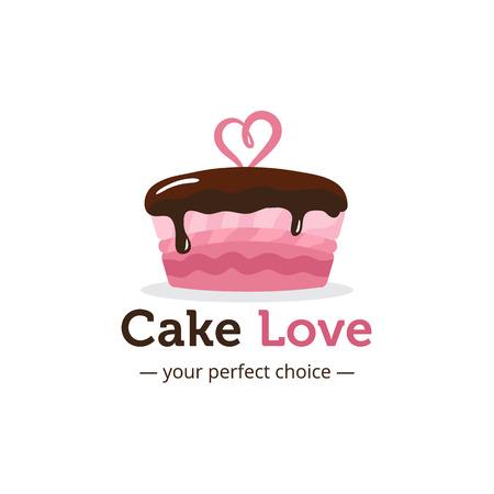 Vector de la insignia linda torta de color rosa brillante con el chocolate y el corazón en la parte superior. Boda logotipo de la tienda de la torta. Tienda de dulces logotipo. Logos