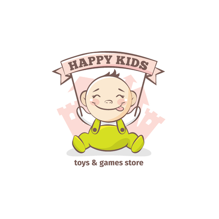 baby toy: Vector cute baby logo in sketch style. Toys and games store doodle logo in tender colors with little castle on the background Illustration