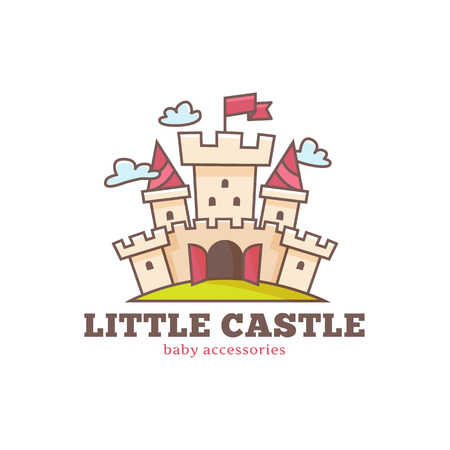 Vector cute little castle logo for baby shop. Kids town logo.