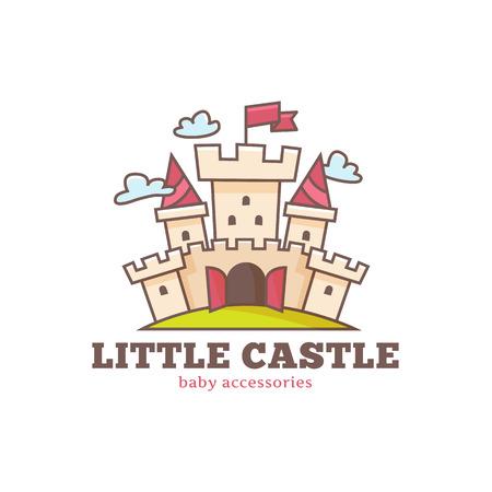 Vector cute little castle logo for baby shop. Kids town logo.