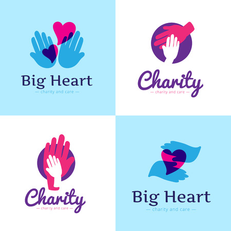 cherish: Vector set of clean charity center logos. Hospital logos with hands and hearts Illustration