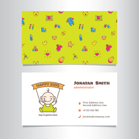 market place: Vector modern business card template with cute baby shop logo