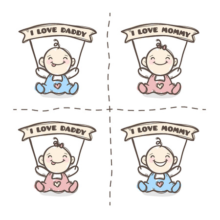 baby girl: Vector cute baby boy and girl with I love Mommy and I love Daddy ribbons. Baby shower set.